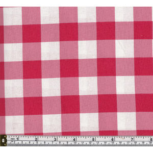Warm Home 100% Cotton Gingham Check Fabric, 114cm Wide per Metre, RED