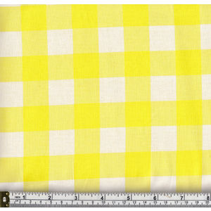 Warm Home 100% Cotton Gingham Check Fabric, 114cm Wide per Metre, YELLOW