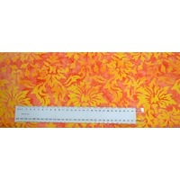 BATIK Fabric, 110cm Wide Per 1/2 Metre, #640064.1417 ORANGE YELLOW, 100% Cotton