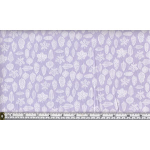 100% Cotton Fabric, 110cm Wide, Botanical Series, LILAC LEAVES, Per Metre