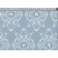 French Cottage Cotton Fabric, Colour 0071, 145cm Wide 44cm Remnant BLUE/WHITE