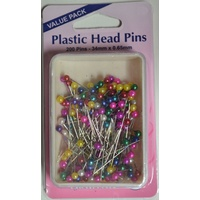 Hemline Plastic Head Berry Pins, 34 x 0.65mm, Qty 200, Re-Usable Box