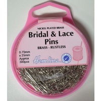 Hemline Bridal & Lace Pins 25mm x 0.70mm, Approx 300 Pins, Nickle Plated Brass, Rustless