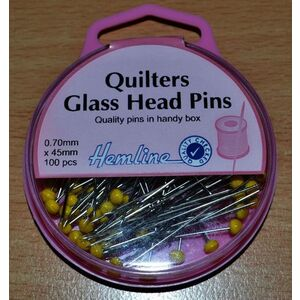 Hemline Quilters Glass Head Pins 45mm x 0.70mm 100 Pins, Nickle Plated Steel