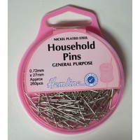 Hemline Household Pins 27mm x 0.72mm 260 Pins, Nickle Plated General Purpose