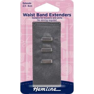 Hemline Waist Band Extender, GREY Hook & Bar Type, Extends 2.5-5cm