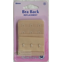 "Hemline Bra Back Replacement 50mm (2""), 3 Hooks, 2 Rows, NUDE"