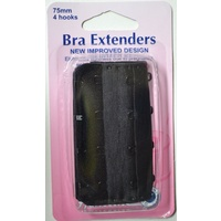 Hemline Bra Extenders 75mm, 4 Hooks, BLACK, New Improved Design, Hemline Quality