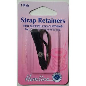 Hemline Lingerie Strap Retainers For Sleeveless Clothing, 1 Pair, Black