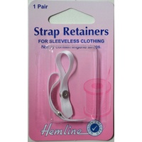 Hemline Lingerie Strap Retainers For Sleeveless Clothing, 1 Pair, White