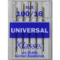 Klasse Sewing Machine Needles, UNIVERSAL Size 100 / 16, Pack of 5 Needles