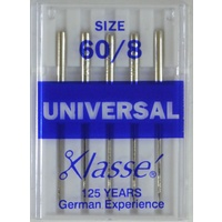 Klasse Sewing Machine Needles, UNIVERSAL Size 60 / 8, Pack of 5 Needles