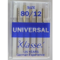 Klasse Sewing Machine Needles UNIVERSAL Size 80 / 12, Pack of 5 Needles, HA x 1