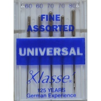 Klasse Sewing Machine Needles, UNIVERSAL Fine Assorted Mix, Pack of 5 Needles