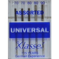 Klasse Sewing Machine Needles, UNIVERSAL Assorted Mix (70; 80; 90), Pack of 5 Needles