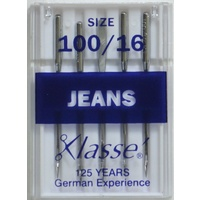 Klasse Sewing Machine Needles, JEANS Size 100 / 16, Pack of 5 Needles