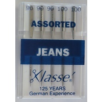 Klasse Sewing Machine Needles, JEANS Assorted Mix (90; 100), Pack of 5 Needles