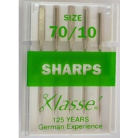 Klasse Sewing Machine Needles, SHARPS Size 70 / 10, Pack of 5 Needles