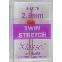 Klasse Sewing Machine Needles, TWIN STRETCH 2.5mm 75/11, Pack of 1 Needle