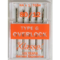 Klasse Overlocker Needles, TYPE G, 705H, 2020 Sz 80, Pack of 5 Needles, Serger Needles