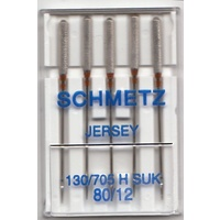 Schmetz Sewing Machine Needles, JERSEY Ballpoint Size 80/12, Pack of 5 Needles