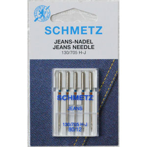 Schmetz Sewing Machine Needles, JEANS Size 80 / 12, Pack of 5 Needles, 130/705H-J system