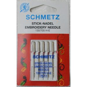 Schmetz Machine Needle EMBROIDERY Size 75 / 11, Pack of 5 Needles