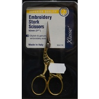 "Klasse Superior Quality Embroidery Stork Scissors, 92mm, 3.5"", Gold Plated Handles"