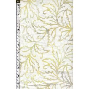 Batik Australia BA45-370 Cream Leaves, 110cm Wide Per 50cm (1/2 Metre)