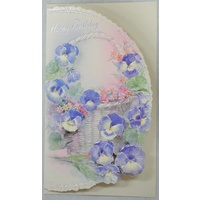 Birthday Card, Greeting Card, Happy Birthday Floral (B) 115 x 195mm, Envelope Included
