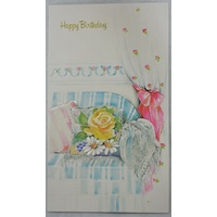 Birthday Card, Greeting Card, Happy Birthday Floral (C) 115 x 195mm, Envelope Included