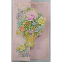 Birthday Card, Greeting Card, Happy Birthday Floral Cutout (E) 115 x 195mm, Envelope Included