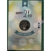 Happy 21st Birthday Card & Lucky Coin, 115 x 170mm, Luck Coin 35mm, A Beautiful Gift