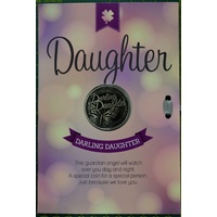 Darling Daughter Card & Lucky Coin 115 x 170mm, Luck Coin 35mm, A Beautiful Gift