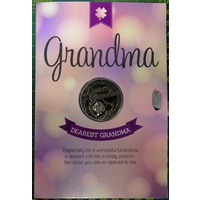 Dearest Grandma, Card & Lucky Coin, 115 x 170mm, Luck Coin 35mm, A Beautiful Gift