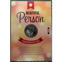 Beautiful Person, Card & Lucky Coin, 115 x 170mm, Luck Coin 35mm, A Beautiful Gift