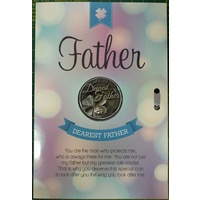 Dearest Father, Card & Lucky Coin, 115 x 170mm, Luck Coin 35mm, A Beautiful Gift