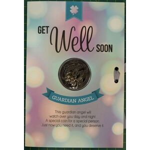 Get Well Soon, Card & Lucky Coin, 115 x 170mm, Luck Coin 35mm, A Beautiful Gift