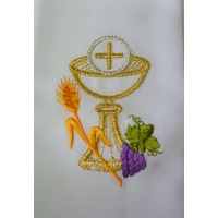 Communion Stole with Gold Metallic Thread Embroidered Chalice, 1550mm Long