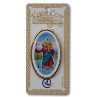 Saint Christopher Visor Clip, Metal with Plastic Clip 50 x 23mm, Made in Italy