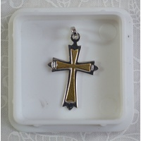 Sterling Silver (925) Two Tone Cross, 25mm x 18mm, 1.45 grams