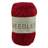 Needles Acrylic Knitting Yarn 8 Ply, 100g Ball, DEEP RED