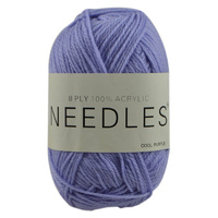 Needles Acrylic Knitting Yarn 8 Ply, 100g Ball, COOL PURPLE