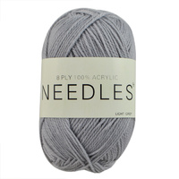 Needles Acrylic Knitting Yarn 8 Ply, 100g Ball, LIGHT GREY