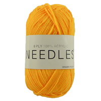 Needles Acrylic Knitting Yarn 8 Ply, 100g Ball, GOLDEN YELLOW