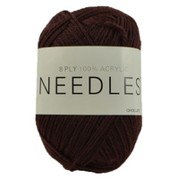 Needles Acrylic Knitting Yarn 8 Ply, 100g Ball, CHOCOLATE