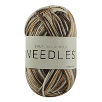 Needles Acrylic Knitting Yarn 8 Ply, 100g Ball, MULTI SANDSTONE