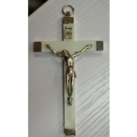 Wall Crucifix Metal Corpus, Luminous Metal Backed Cross, Made In Italy 110 x 65mm