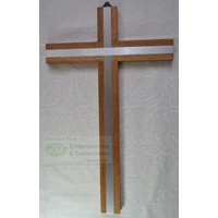Wall Cross, Wood Cross With Silver Tone Metal Inlay, 250mm x 155mm, Made in Italy