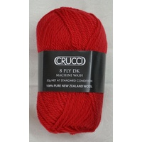 Crucci 8 Ply DK Knitting Yarn 100% Pure New Zealand Wool, 50g Ball, #11 LIPSTICK RED